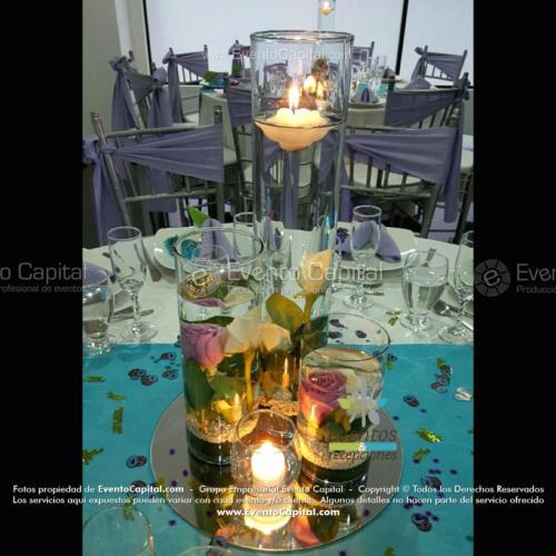 centro mesa cilindro 3 diferente tamaño velas rosas blanco lila espejo (1)