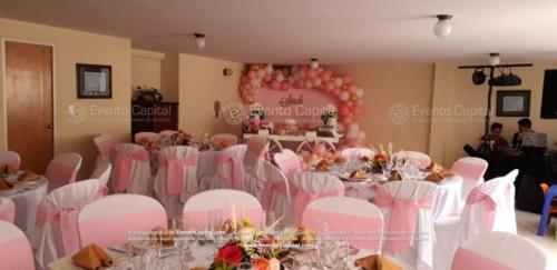 mesa postres carreta arco globos rosado (8)