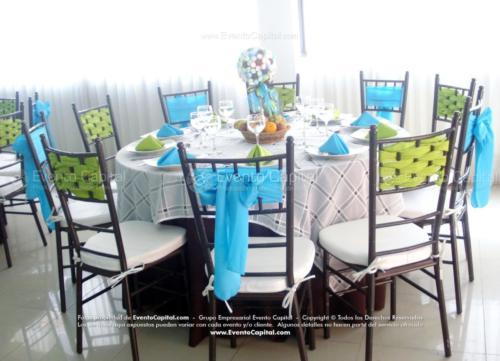mobiliario  sillas tiffany mantel redondo