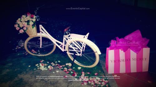 tematica victoria secret entrada bici rosa bolsa compras