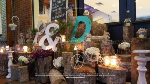tematica vintage stand troncos velas heno letras nombre iniciales (2)